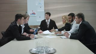 Discussion of business project. Business partners meeting.