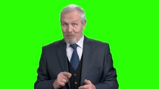 Elderly bearded businessman talking on green screen. Senior cheerful man in formal wear speaking and gesturing on chroma key background.