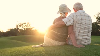 Elderly couple sitting outdoors, back view. Old man and woman sitting and hugging on grass, sunny day.
