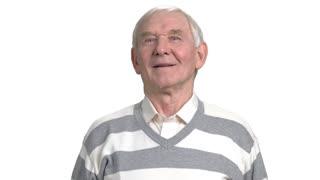 Elderly man isolated on white background. Caucasian senior person posing on white background.