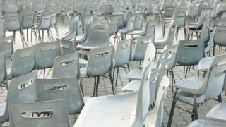 Empty chairs, Saint Peter square. Rows of chairs outdoor.