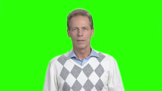 Excited mature man gesturing, green screen. Happy surprised mature man saying wow standing on chroma key background. Human positive emotions and facial expressions.