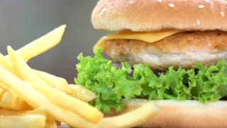 Fast food macro. Chicken burger with fresh vegetables.