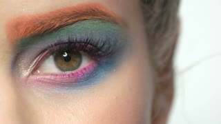 Female eye, colorful makeup. Long eyelashes close up. Hypnotic power of beauty.