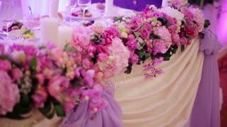 Festive table. Wedding decorations. Wedding floristry.