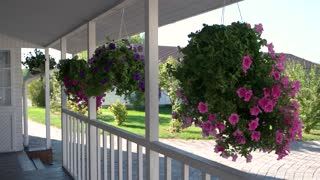 Flowers hanging on the porch. House of white color. Buy cheap real estate.
