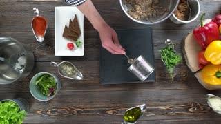 Food preparation, barley porridge. Cooking table with ingredients.