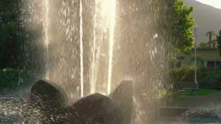 Fountain streams in slow motion. Splashes of clean water.