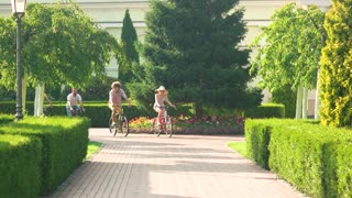 Four young friends riding on bicycles. Group of young people riding bicycles and looking happy. Carefree time with friends.