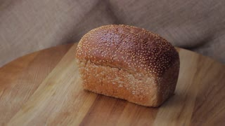 Fresh white bread with sesame seeds