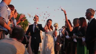 Friends congratulate the just married. Guests sprinkled on the bride and groom rose petals. Wedding ceremony.