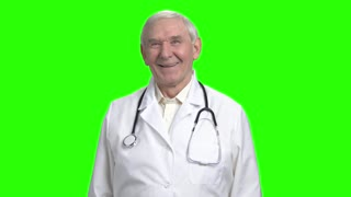 Front view laughing doctor. Old doctor with stethoscope is laughing, green hromakey background.