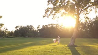 Grandfather spinning granddaughter in park. Elderly man and grandchild having fun on nature background, sunny day. Enjoying time together.
