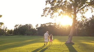 Grandpa with child walking on green grass. Elderly man holding hands granddaughter in park. Enjoying summer nature.