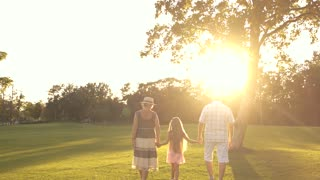 Grandparents and grandchild walking outdoors. Elderly man and woman in park with granddaughter, back view. People, sun and nature.