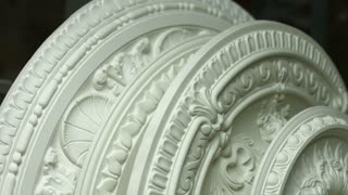 Gypsum ceiling construction. Decorated ceiling in baroque style. Beauty of classical architecture. Masterpiece of architecture workshop.