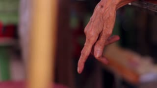 Hand of old grandmother. Centennial grandmother. Wrinkled hand of old woman's.