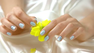 Hand tearing off chrysanthemum petals, slow motion. Close up young woman delicate hands with beautiful manicure tearing off petals of little yellow flower.