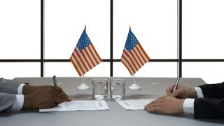 Hands of businessmen sign papers. Handshake near US flags. Treaty of american companies. Diplomacy is key to success.
