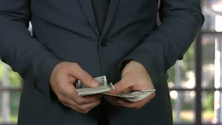 Hands of man counting cash. Businessman putting dollars into pocket.