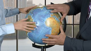 Hands of people touching globe. Woman and businessman. Strategy of development. Wise leaders of big company.