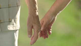 Hands of seniors holding together outdoors. Love and romance between elderly people. Endless and true love.