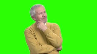 Handsome mature man having an idea. Happy older man got an idea, Alpha Channel background.