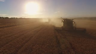 Harvester in cloud of dust. Bright sun over field. Crop shall feed the nation. Machinery of agriculture.