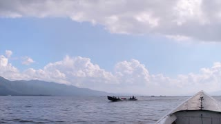 Inle Lake. Motor boating on a lake. Beautiful landscape.