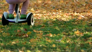 Kids playing on grass with gyroscooter. Close up. Fallen leaves on the grass in the park.