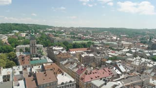 Lviv in summer. Town, nature and sky. Cultural capital of ukraine.