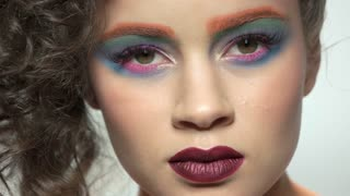 Makeup model face. Beautiful girl close up.