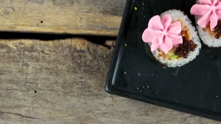 Maki sushi with cream cheese. Asian food top view.