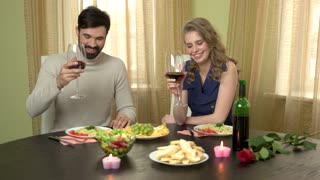 Man Gives Present To Woman Young Couple Having Dinner Romantic Birthday Party Ideas