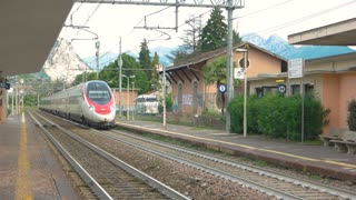 Modern intercity train. Train buildings and nature. Transport safety statistics.