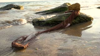 Net with fish on seashore. Water and stones. Sea fishing tips.