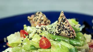 Nicoise salad macro. Seared tuna and fresh vegetables.