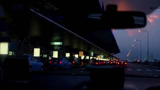 Night airport. Taxi arrives at the airport. Beautiful evening airport. Airport of Thailand.