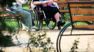 Old people talking sitting on bench. Disabled grandma having coversation with her friends outdoors in the park.