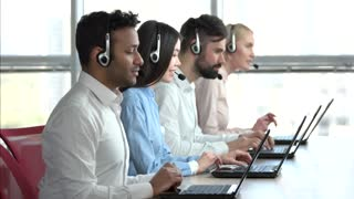 Online technical support workers, windows background. Smiling customer support operators at work.