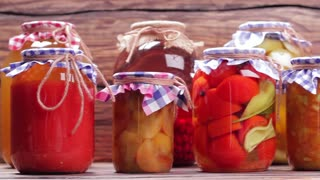 Organic vegetables and fruits. Organic vegetables in glass jars.