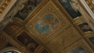 Paintings in Lviv Theater. Beautiful baroque interior.