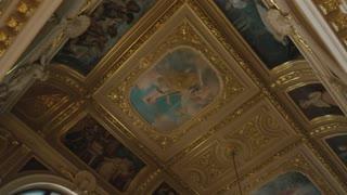 Paintings in Lviv Theater. Beautiful baroque interior.
