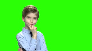 Pensive schoolboy portrait and free space for text. Green hromakey background for keying.