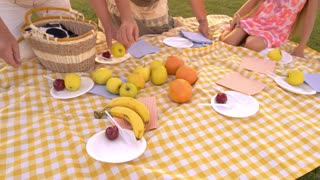 People, picnic cloth, fruits. Elderly people with granddaughter on picnic, fresh fruits. Nutritious and delicious food. Healthy lifestyle concept.
