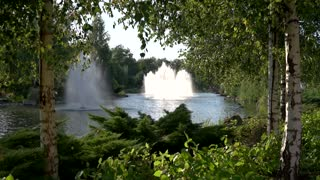 Pond with fountains and building. Nature in summer. Elite real estate rent.