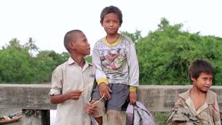 Poor, dirty, funny kids living in Myanmar.