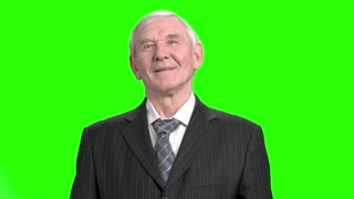 Portrait of grandpa in suit. Happy and successful senior old man in striped suit, green background.