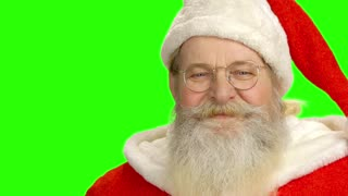 Santa Claus face, green screen. Happy Santa on chromakey background.