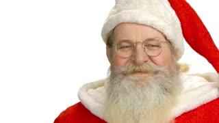 Santa Claus face isolated. Happy Santa, white background.